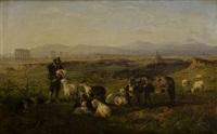 pastore con animali nei pressi di un acquedotto nella campagna romana by charles h. poingdestre