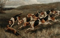 hounds and quarry before the kill by alfred duke