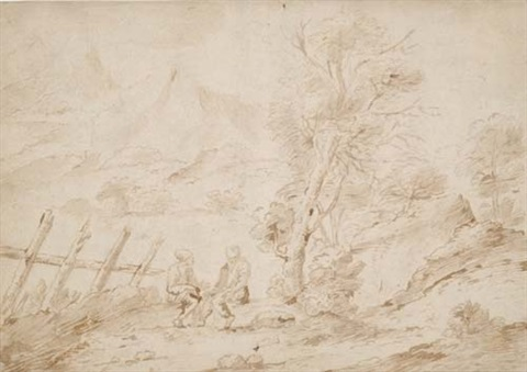 two men seated in a mountainous landscape by clemente bocciardo il clementone