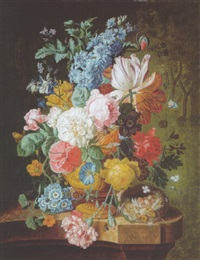 roses, lilies, carnations and other flowers in an urn, a wasp, moth, bee and a bird's nest on a marble ledge by johannes christianus roedig