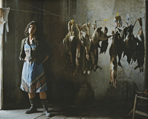 annette with rabbits photographic still from the rape of the sabine women by eve sussman