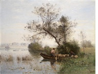 ferrying the flock by louis aimé japy