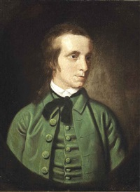 portrait of a young man, half-length, in a green jacket and black tie by joseph wright (of derby)