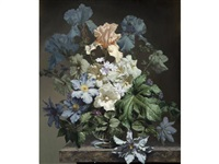 still life of clematis and irises in a glass vase on a marble ledge by bennett oates