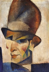 self-portrait with a hat by béla kádár