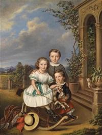 porträts dreier kinder vor einem gartenpavillon by elisabeth modell