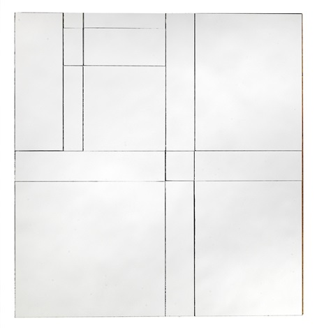mondrian mirror 26 after composition in black and white with double