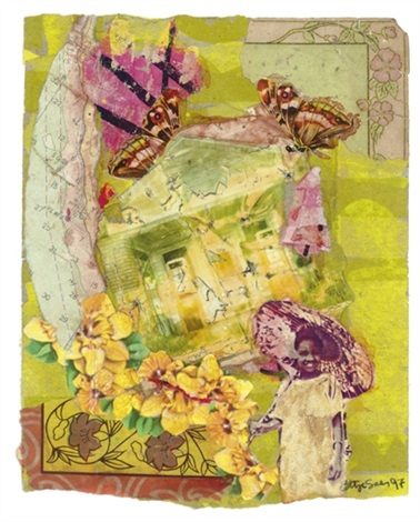 girl with umbrella and yellow flowers by betye saar