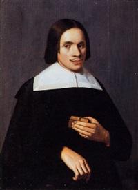 portet van een heer met een reisbijbel op 23-jarige leeftijd by cornelis picolet