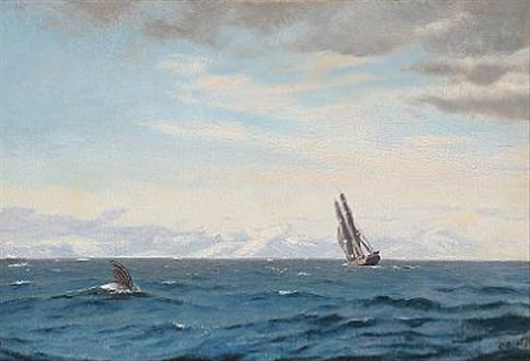 humpback whale and sailing ship in the davis strait by carl jens erik c rasmussen