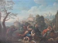 scène de lutte près d'une fontaine dans la campagne romaine by paolo monaldi