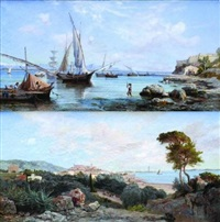 vue d'antibes (+ another; 2 works) by henri arthur bonnefoy