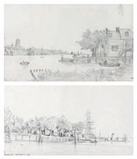 deux vues de dordrecht (2 works) by auguste paul charles anastasi