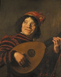 a clown playing the lute by cornelis smith