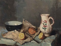 a still life with fruits, a jug and a bowl by marie van regteren altena