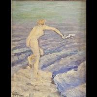 nudo di donna sugli scogli by felice castegnaro