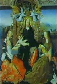 the madonna and child crowned with angels and flanked by  saints catherine of alexandia and margaret of antioch by gosvin (goossen) van der weyden