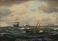 seascape with numerous ships off kronborg castle by carl emil baagöe