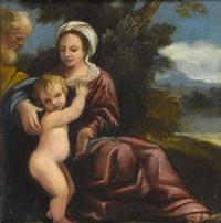 le repos de la sainte famille pendant la fuite en egypte by giulio cesare amidano