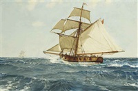 an armed cutter chasing a smuggler by montague dawson