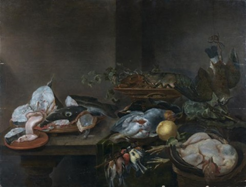 nature morte aux poisson volaille homard vaneau perdreaux in 5 parts by alexander adriaenssen