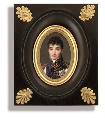 jérôme bonaparte king of westphalia in uniform of westphalian infantry white coat with gold embroidered black facings gold epaulettes red ribbon and badge curled dark hair and sideburn by louis françois aubry