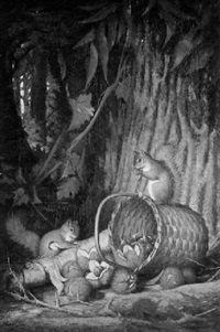 the cornucopia - genre scene with squirrels by frederick s. batcheller