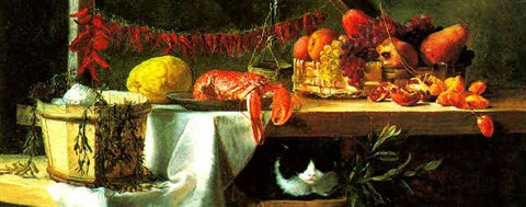 a still life with a cat by daniel hock