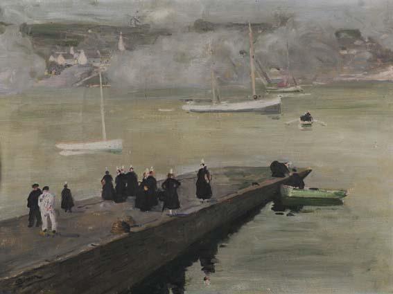 bretonnes sur la jetée by lucien simon