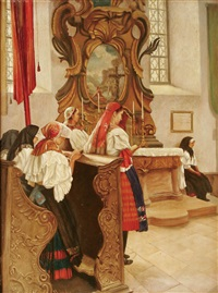 interior scene of church with women by ingegard linder