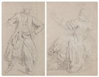 figure d'oriental et une musicienne de dos (2 works) by anicet charles gabriel lemonnier