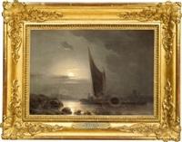seglare vid kusten under månsken by joseph magnus stack