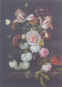 parrot tulips, roses and other flowers in a glass vase on a marble ledge by cornelis kick