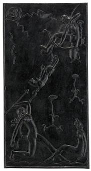 väggplakett med stiliserade figurer och växter by olof hult