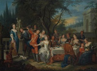 scène de banquet dans un décor à l'italienne by flemish school