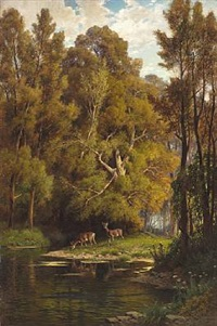 deer at a lake in the forest by hermann david salomon corrodi