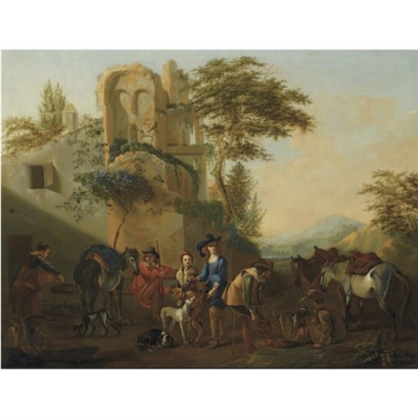 horsemen resting near a ruin, accompanied by their hounds by jan miel