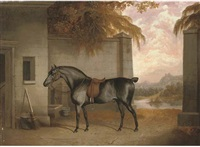 a saddled black horse in a yard with a river landscape beyond by george jackson