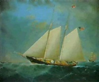 the sailing vessel 'carrie c. miles' racing and two other  vessels by william gay yorke