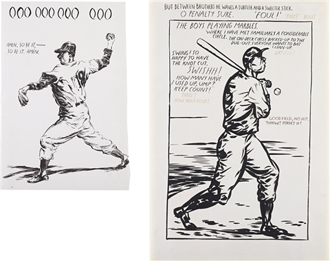 untitled amen so be it untitled but between brothers 1991 2 works by raymond pettibon
