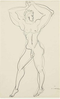 male nude (recto and verso) by gaston lachaise
