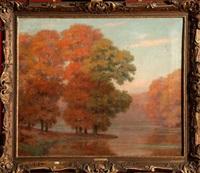 paysage d'automne à l'étang by pierre abattucci