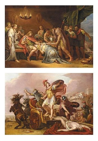 Achilles dragging the body of Hector round the Walls of Troy