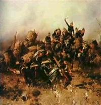 the prussian army charging by hendrik willem koekkoek