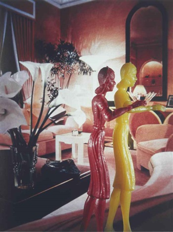 coral living room with lillies by laurie simmons