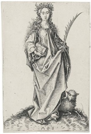 saint agnes by martin schongauer