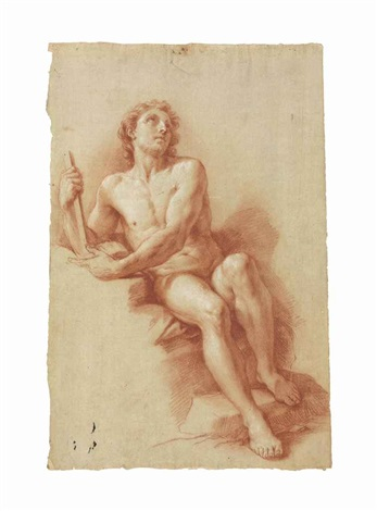 a male nude recto a seated female nude verso by pompeo girolamo batoni