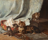 a cat with three kittens by julius adam the younger