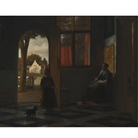 a woman seated by a window with a child in a doorway by pieter de hooch