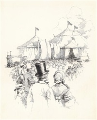 crowds approaching big tents of the circus (study for century magazine) by john wolcott adams